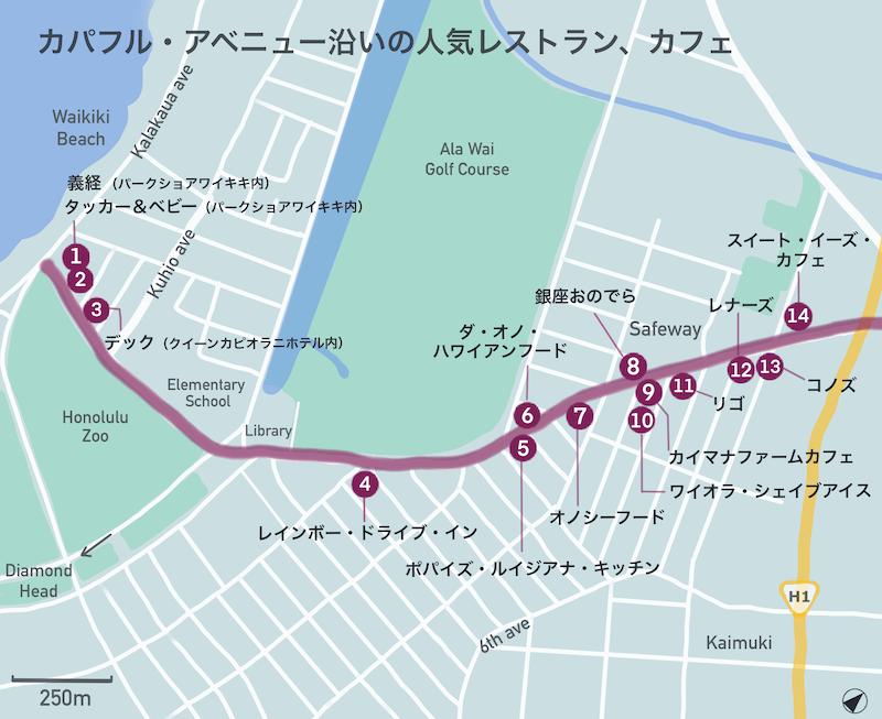 カパフル通りカフェマップ