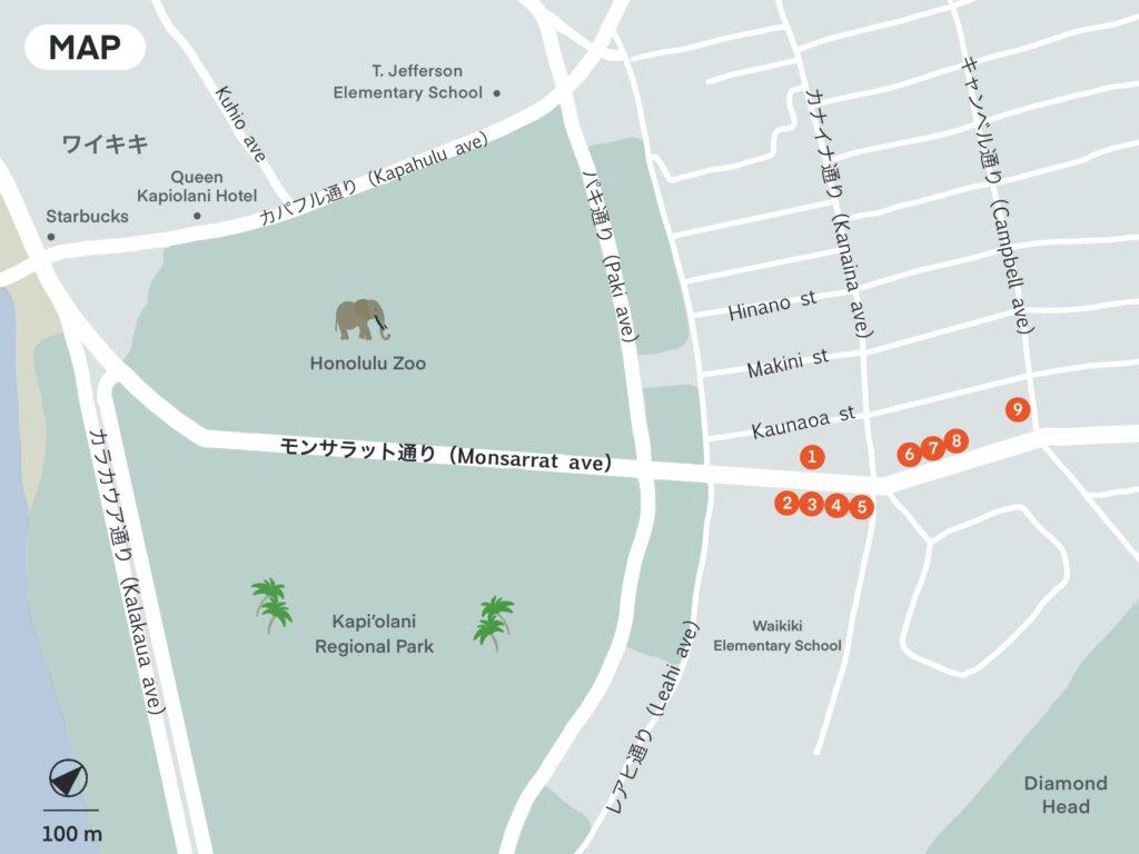 モンサラット通り周辺地図